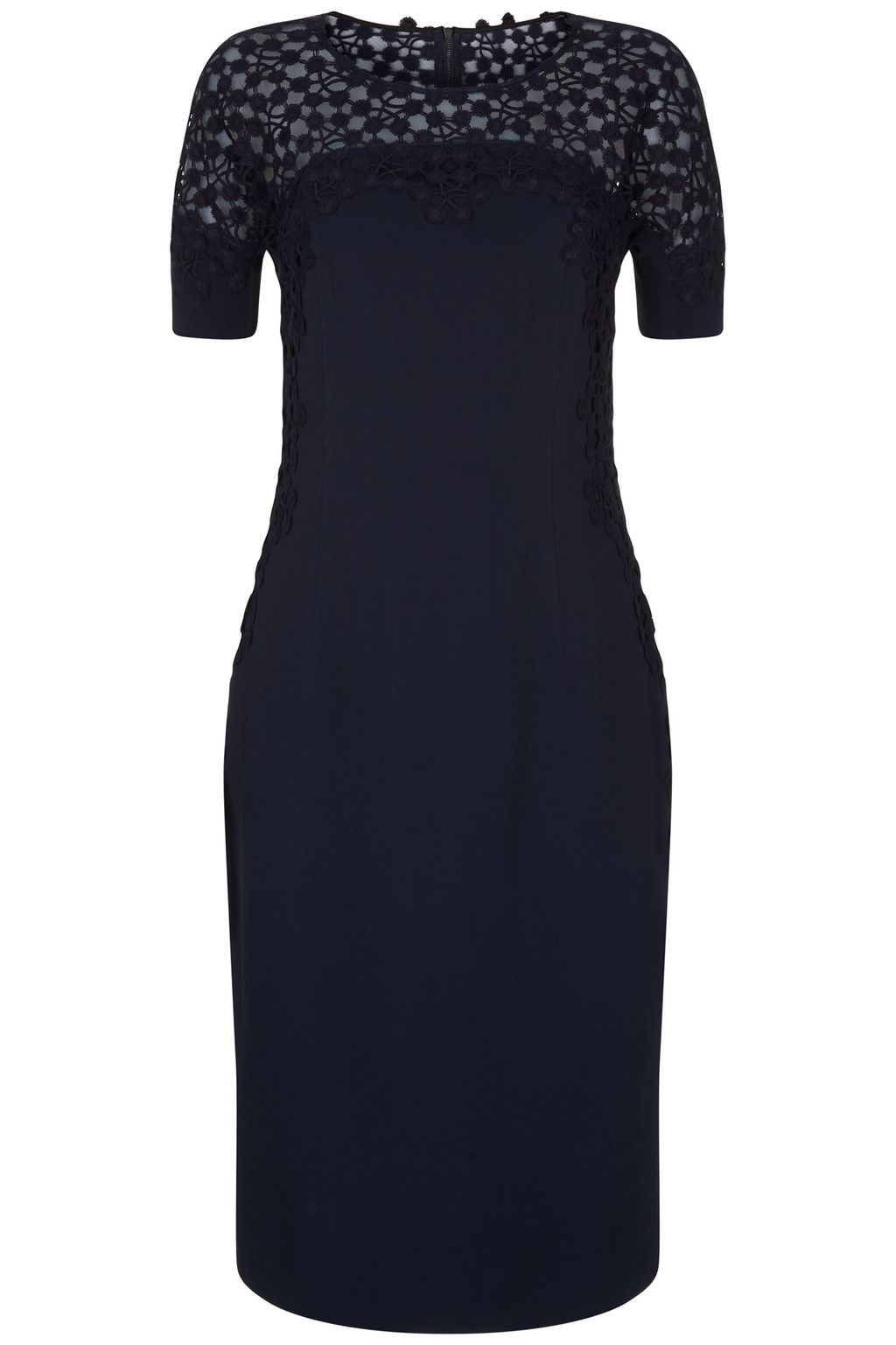 Mara Dress, Navy - style: shift; fit: tailored/fitted; pattern: plain; bust detail: sheer at bust; predominant colour: navy; occasions: evening; length: on the knee; fibres: polyester/polyamide - 100%; neckline: crew; sleeve length: short sleeve; sleeve style: standard; pattern type: fabric; texture group: other - light to midweight; season: s/s 2016; wardrobe: event; embellishment: contrast fabric; embellishment location: hip