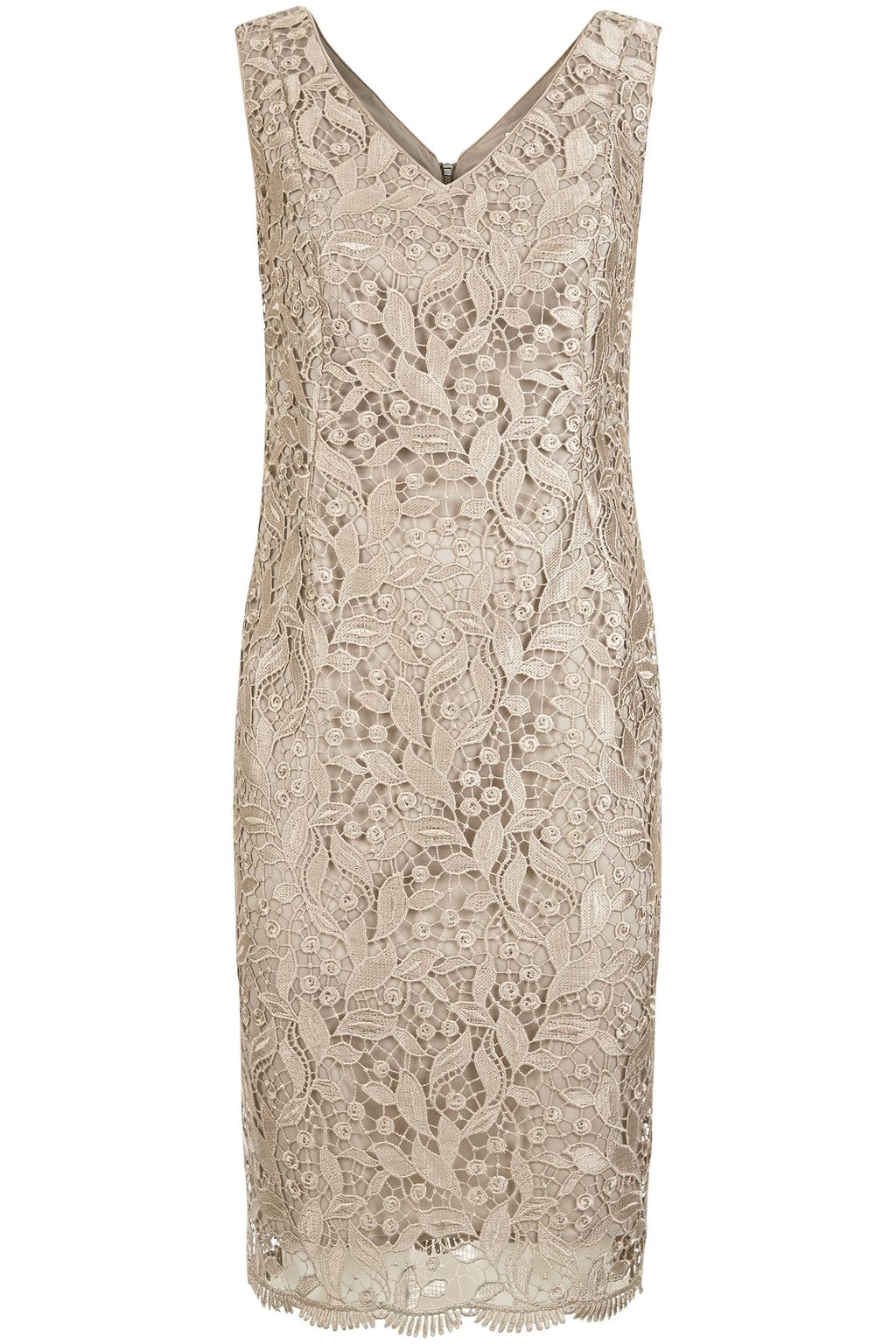 Chagall Dress, Gold - style: shift; neckline: v-neck; pattern: plain; sleeve style: sleeveless; predominant colour: gold; occasions: evening; length: just above the knee; fit: body skimming; fibres: polyester/polyamide - 100%; sleeve length: sleeveless; texture group: lace; pattern type: fabric; season: s/s 2016; wardrobe: event