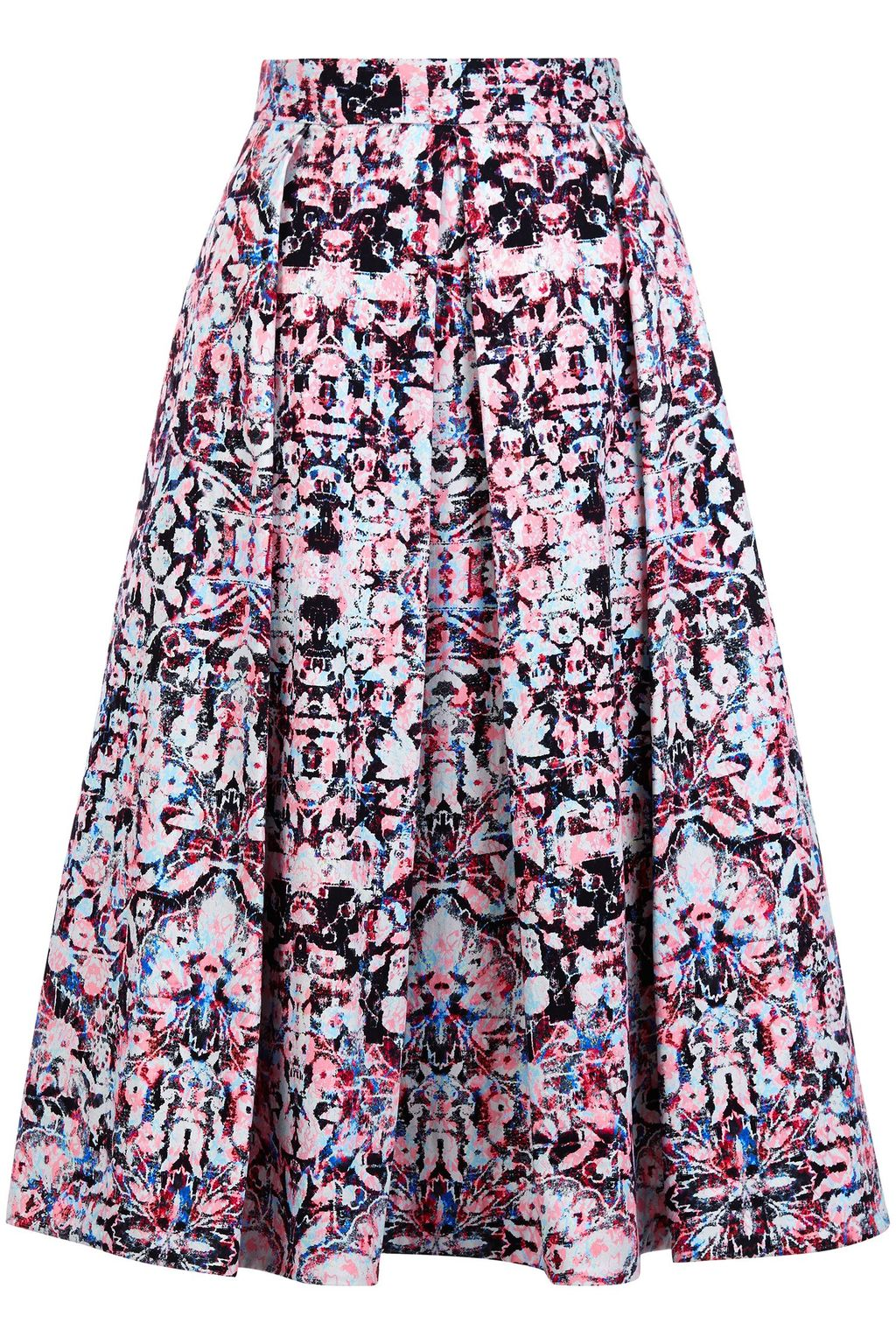 Hockney Skirt, Multi Coloured - length: below the knee; fit: loose/voluminous; style: pleated; waist: high rise; predominant colour: aubergine; secondary colour: lilac; occasions: casual, evening, creative work; fibres: cotton - stretch; hip detail: soft pleats at hip/draping at hip/flared at hip; pattern type: fabric; pattern: patterned/print; texture group: woven light midweight; pattern size: big & busy (bottom); season: s/s 2016