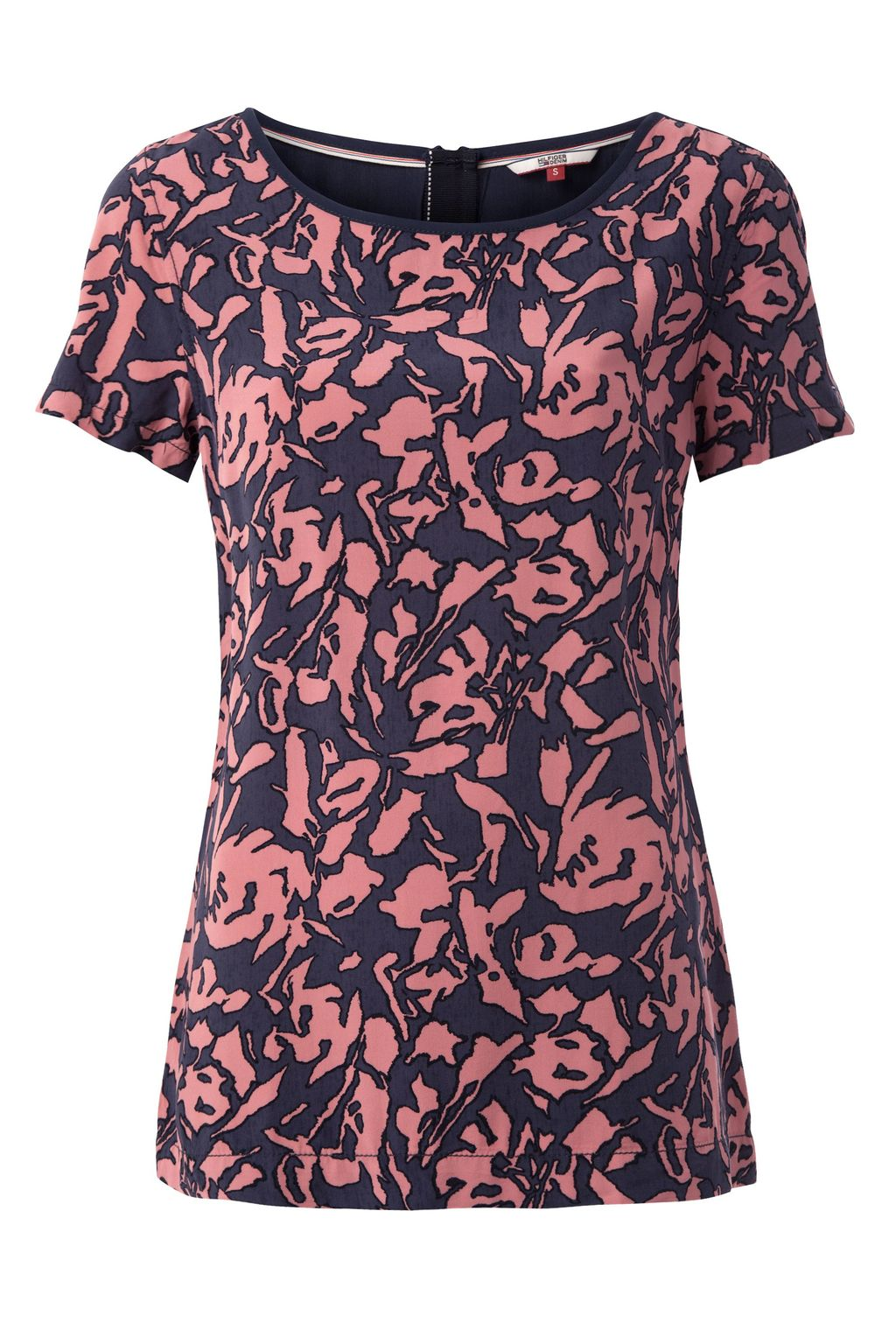 Printed Viscose Top, Navy - neckline: round neck; secondary colour: pink; predominant colour: navy; occasions: casual; length: standard; style: top; fibres: viscose/rayon - 100%; fit: body skimming; sleeve length: short sleeve; sleeve style: standard; pattern type: fabric; pattern: patterned/print; texture group: jersey - stretchy/drapey; multicoloured: multicoloured; season: s/s 2016; wardrobe: highlight
