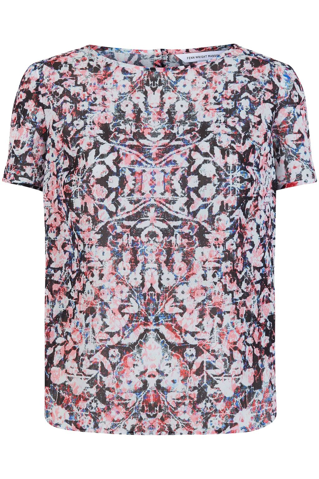 Hockney Top, Multi Coloured - predominant colour: blush; occasions: casual; length: standard; style: top; fibres: polyester/polyamide - 100%; fit: body skimming; neckline: crew; sleeve length: short sleeve; sleeve style: standard; pattern type: fabric; pattern size: light/subtle; pattern: patterned/print; texture group: woven light midweight; multicoloured: multicoloured; season: s/s 2016; wardrobe: highlight