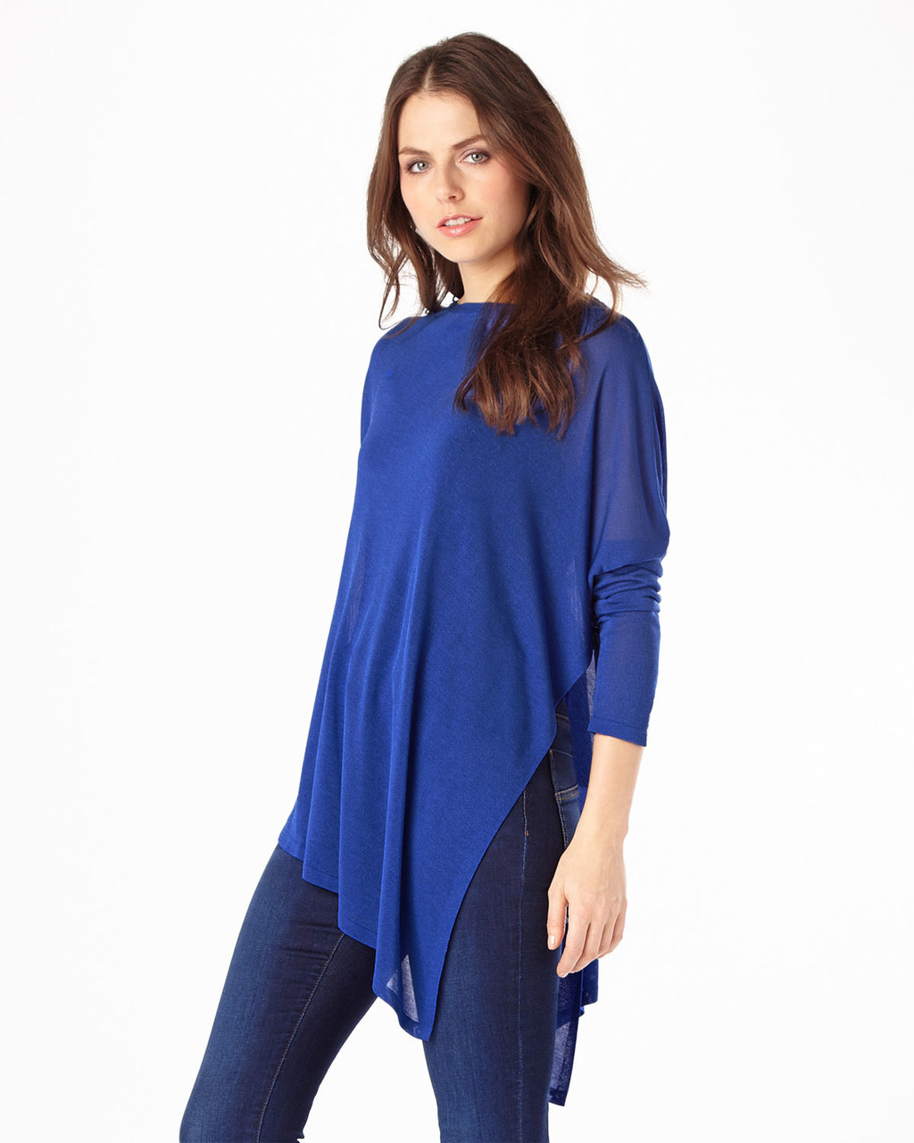 Sheer Melinda Knit - neckline: slash/boat neckline; pattern: plain; length: below the bottom; style: standard; predominant colour: royal blue; occasions: casual; fibres: viscose/rayon - 100%; fit: loose; sleeve length: long sleeve; sleeve style: standard; pattern type: fabric; texture group: jersey - stretchy/drapey; season: s/s 2016
