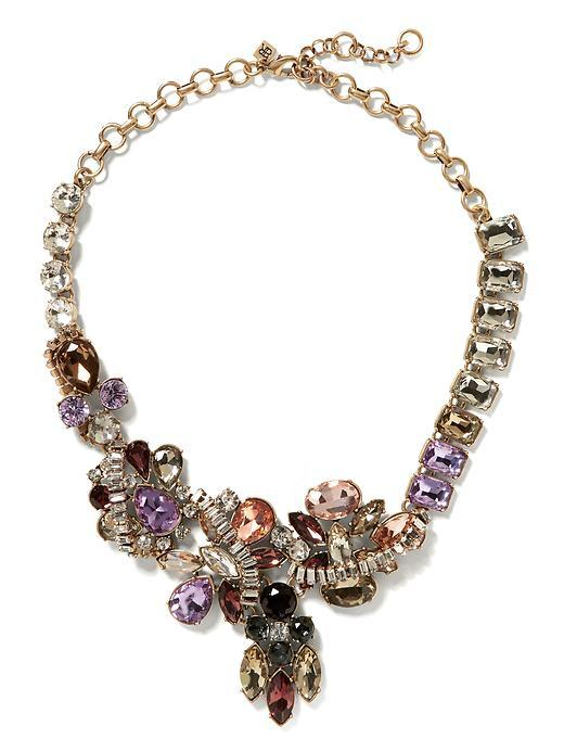 Baguette Wrap Necklace Gold - predominant colour: purple; secondary colour: gold; occasions: evening, occasion; length: short; size: large/oversized; material: chain/metal; finish: metallic; embellishment: jewels/stone; style: bib/statement; season: s/s 2016