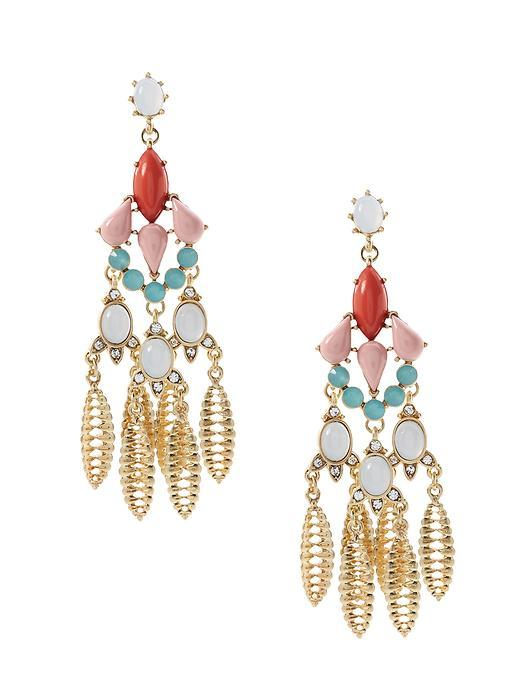 Blooming Bud Chandelier Earring Multi - predominant colour: gold; occasions: evening, occasion; style: chandelier; length: long; size: large/oversized; material: chain/metal; fastening: pierced; finish: metallic; embellishment: jewels/stone; multicoloured: multicoloured; season: s/s 2016; wardrobe: event