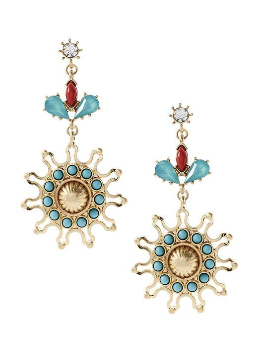 Blooming Bud Drop Earring Multi - predominant colour: turquoise; occasions: evening, occasion; style: chandelier; length: mid; size: standard; material: chain/metal; fastening: pierced; finish: metallic; embellishment: jewels/stone; multicoloured: multicoloured; season: s/s 2016