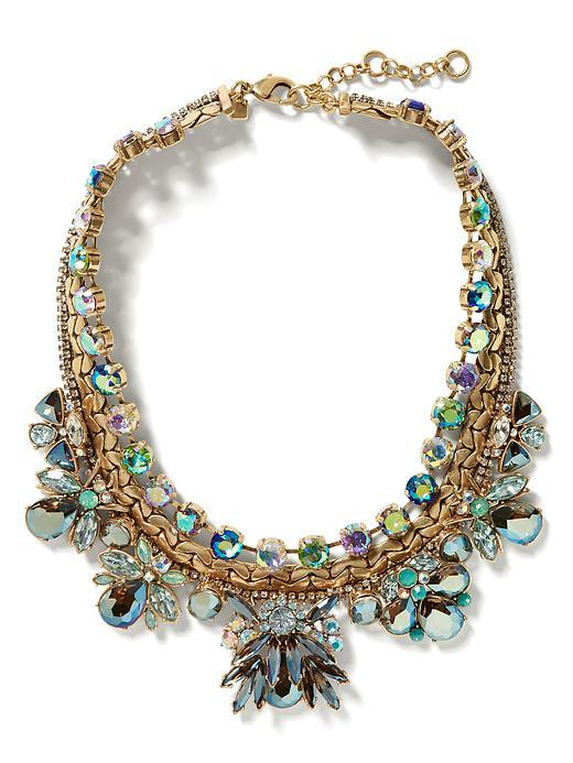 Jeweled Bug Necklace Multi - predominant colour: gold; occasions: evening, occasion; length: short; size: large/oversized; material: chain/metal; finish: metallic; embellishment: jewels/stone; style: bib/statement; secondary colour: pewter; season: s/s 2016; wardrobe: event