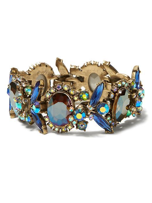 Jeweled Bug Line Bracelet Blue - predominant colour: royal blue; occasions: evening, occasion; style: bangle/standard; size: large/oversized; material: chain/metal; finish: plain; embellishment: jewels/stone; multicoloured: multicoloured; season: s/s 2016; wardrobe: event