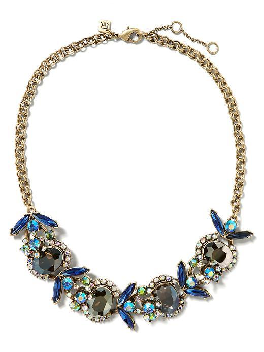 Jeweled Bug Necklace Blue - predominant colour: navy; secondary colour: gold; occasions: evening, occasion; length: short; size: large/oversized; material: chain/metal; finish: metallic; embellishment: jewels/stone; style: bib/statement; season: s/s 2016