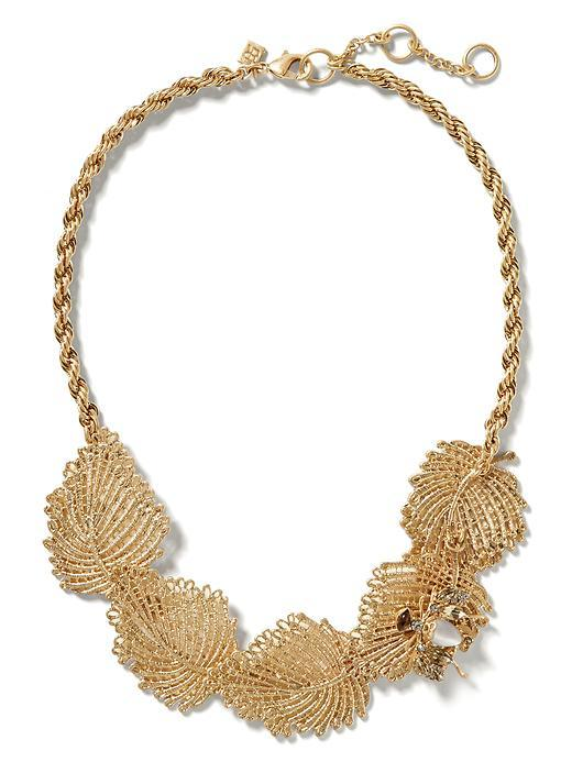 Jeweled Leaf Necklace Gold - predominant colour: gold; occasions: evening, occasion; length: short; size: large/oversized; material: chain/metal; finish: metallic; style: bib/statement; season: s/s 2016; wardrobe: event