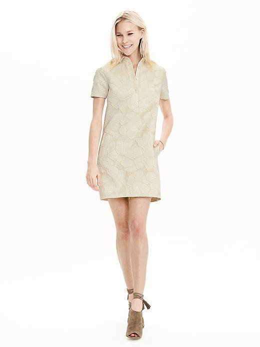 Floral Jacquard Polo Dress Cream - style: shirt; length: mini; neckline: shirt collar/peter pan/zip with opening; predominant colour: champagne; occasions: evening; fit: straight cut; fibres: cotton - mix; sleeve length: short sleeve; sleeve style: standard; pattern type: fabric; pattern: florals; texture group: brocade/jacquard; season: s/s 2016; wardrobe: event