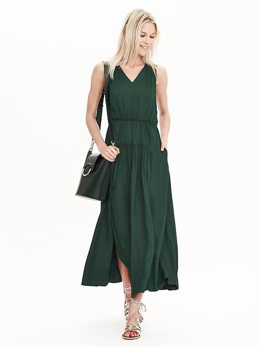 Goddess Maxi Dress Deep Hunter - neckline: v-neck; pattern: plain; sleeve style: sleeveless; style: maxi dress; length: ankle length; hip detail: draws attention to hips; predominant colour: dark green; occasions: casual, holiday; fit: soft a-line; fibres: polyester/polyamide - 100%; sleeve length: sleeveless; texture group: sheer fabrics/chiffon/organza etc.; pattern type: fabric; season: s/s 2016; wardrobe: highlight