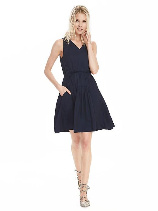 Shirred V Neck Dress Preppy Navy - length: mid thigh; neckline: v-neck; pattern: plain; sleeve style: sleeveless; predominant colour: navy; occasions: casual, holiday; fit: fitted at waist & bust; style: fit & flare; fibres: polyester/polyamide - 100%; hip detail: adds bulk at the hips; sleeve length: sleeveless; pattern type: fabric; texture group: other - light to midweight; season: s/s 2016; wardrobe: highlight