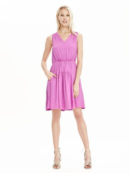 Shirred V Neck Dress Violet - length: mid thigh; neckline: v-neck; fit: fitted at waist; pattern: plain; sleeve style: sleeveless; waist detail: flattering waist detail; predominant colour: lilac; occasions: evening; style: fit & flare; fibres: polyester/polyamide - 100%; hip detail: subtle/flattering hip detail; sleeve length: sleeveless; texture group: crepes; pattern type: fabric; season: s/s 2016; wardrobe: event