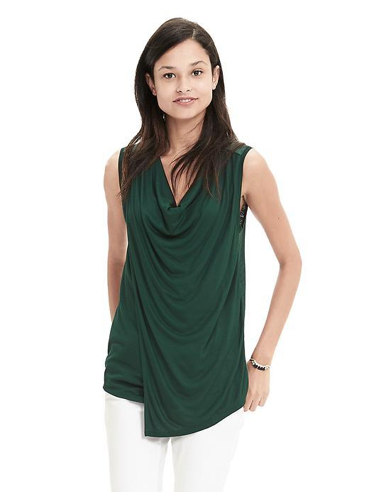 Drapey Cowl Tank Deep Hunter - neckline: cowl/draped neck; pattern: plain; sleeve style: sleeveless; predominant colour: dark green; occasions: casual; length: standard; style: top; fibres: viscose/rayon - 100%; fit: body skimming; sleeve length: sleeveless; pattern type: fabric; texture group: jersey - stretchy/drapey; season: s/s 2016; wardrobe: highlight