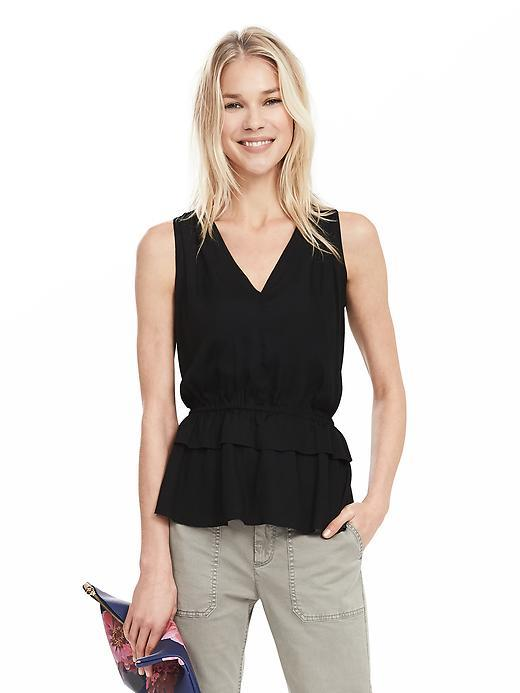 Layered Ruffle Tank Black - neckline: v-neck; pattern: plain; sleeve style: sleeveless; waist detail: belted waist/tie at waist/drawstring; predominant colour: black; occasions: evening; length: standard; style: top; fibres: polyester/polyamide - 100%; fit: body skimming; sleeve length: sleeveless; pattern type: fabric; texture group: other - light to midweight; season: s/s 2016; wardrobe: event