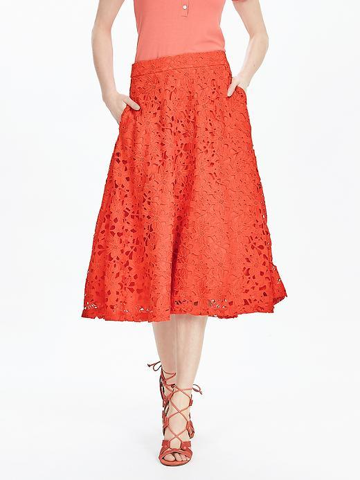 Red Lace Midi Skirt Geo Red - length: below the knee; style: full/prom skirt; fit: loose/voluminous; waist: high rise; predominant colour: bright orange; fibres: polyester/polyamide - 100%; occasions: occasion; texture group: lace; pattern type: fabric; pattern: patterned/print; embellishment: lace; pattern size: standard (bottom); season: s/s 2016; wardrobe: event; embellishment location: all over