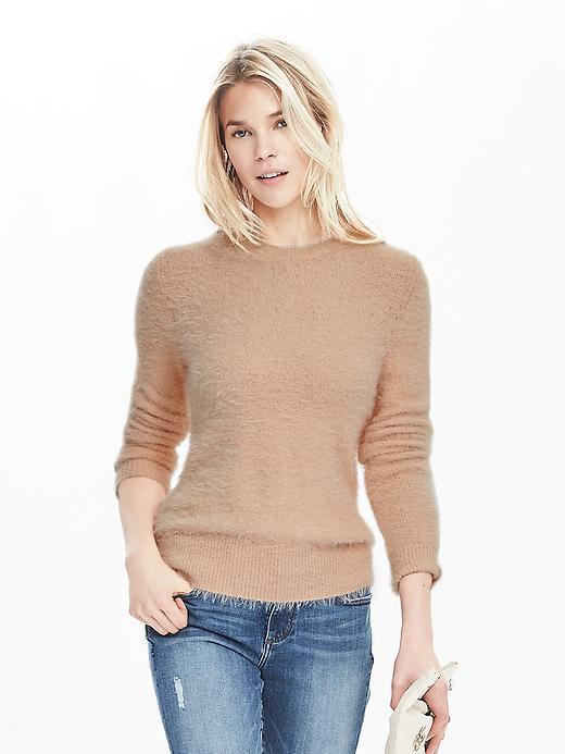 Eyelash Pullover Powder Puff - pattern: plain; style: standard; predominant colour: nude; occasions: casual; length: standard; fibres: nylon - 100%; fit: slim fit; neckline: crew; sleeve length: long sleeve; sleeve style: standard; texture group: knits/crochet; pattern type: fabric; season: s/s 2016; wardrobe: basic