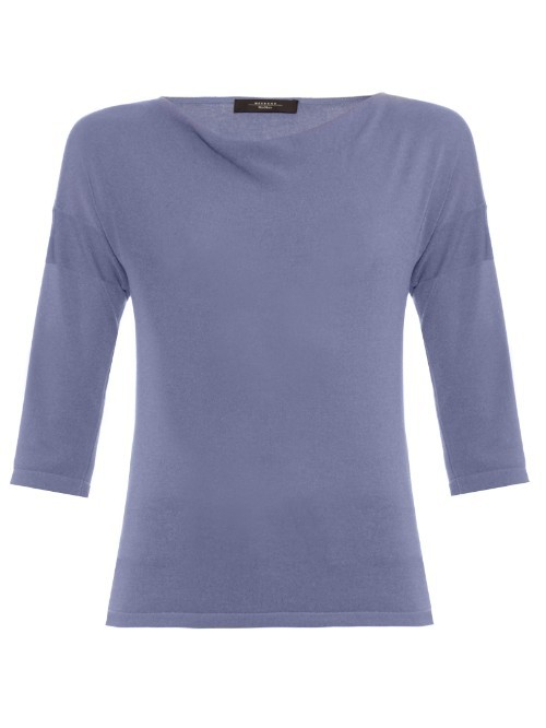 Vento Sweater - neckline: cowl/draped neck; pattern: plain; style: standard; predominant colour: denim; occasions: casual, work, creative work; length: standard; fit: standard fit; sleeve length: 3/4 length; sleeve style: standard; texture group: knits/crochet; pattern type: knitted - fine stitch; fibres: viscose/rayon - mix; season: s/s 2016; wardrobe: highlight