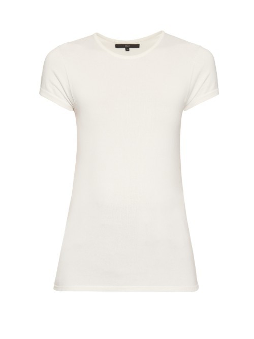 Kate Seamless Knitted Top - pattern: plain; predominant colour: ivory/cream; occasions: casual; length: standard; style: top; fibres: polyester/polyamide - 100%; fit: body skimming; neckline: crew; sleeve length: short sleeve; sleeve style: standard; texture group: knits/crochet; pattern type: fabric; season: s/s 2016; wardrobe: basic