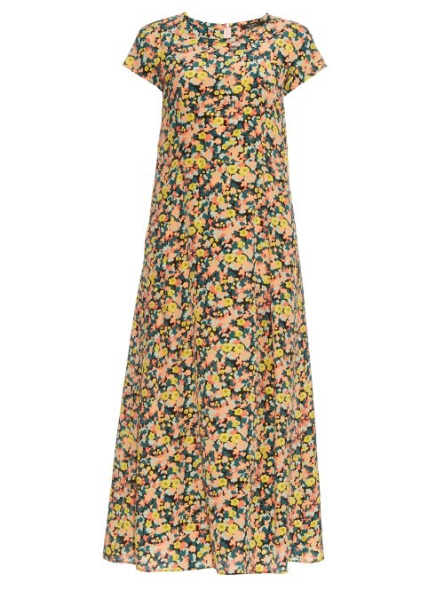 Tolosa Dress - sleeve style: capped; style: maxi dress; secondary colour: blush; predominant colour: yellow; occasions: casual; length: floor length; fit: body skimming; fibres: silk - 100%; neckline: crew; sleeve length: short sleeve; pattern type: fabric; pattern: florals; texture group: other - light to midweight; multicoloured: multicoloured; season: s/s 2016; wardrobe: highlight