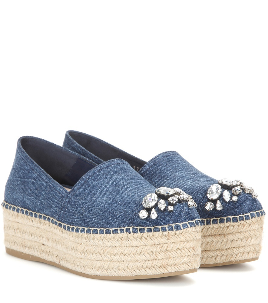 Embellished Denim Platform Espadrilles - predominant colour: denim; occasions: casual; material: fabric; heel height: flat; embellishment: crystals/glass; toe: round toe; style: flatforms; finish: plain; pattern: plain; shoe detail: platform; season: s/s 2016; wardrobe: highlight