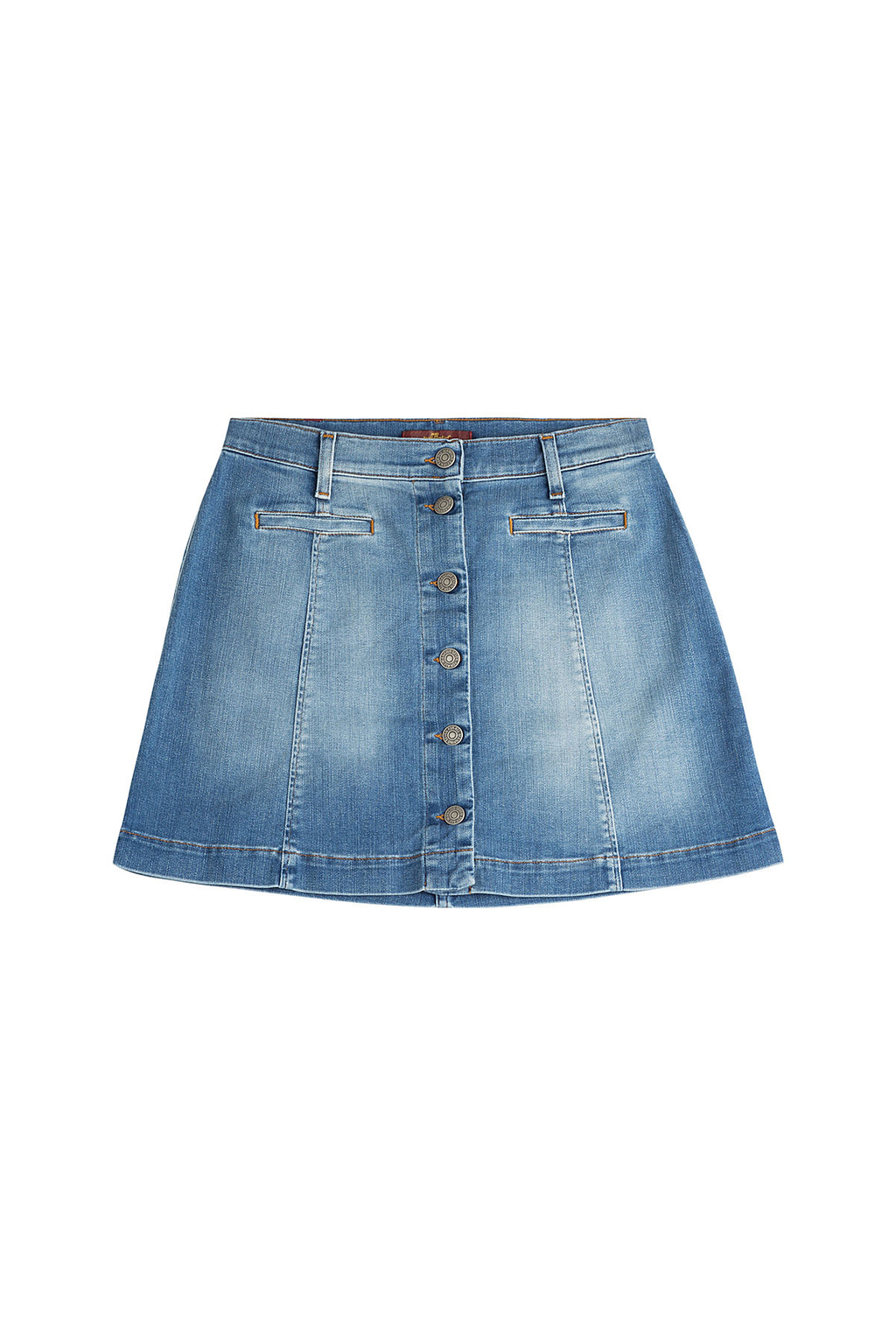 Button Front Jean Skirt - length: mini; pattern: plain; fit: loose/voluminous; waist: mid/regular rise; predominant colour: denim; occasions: casual, creative work; style: a-line; fibres: cotton - 100%; texture group: denim; pattern type: fabric; season: s/s 2016; wardrobe: basic