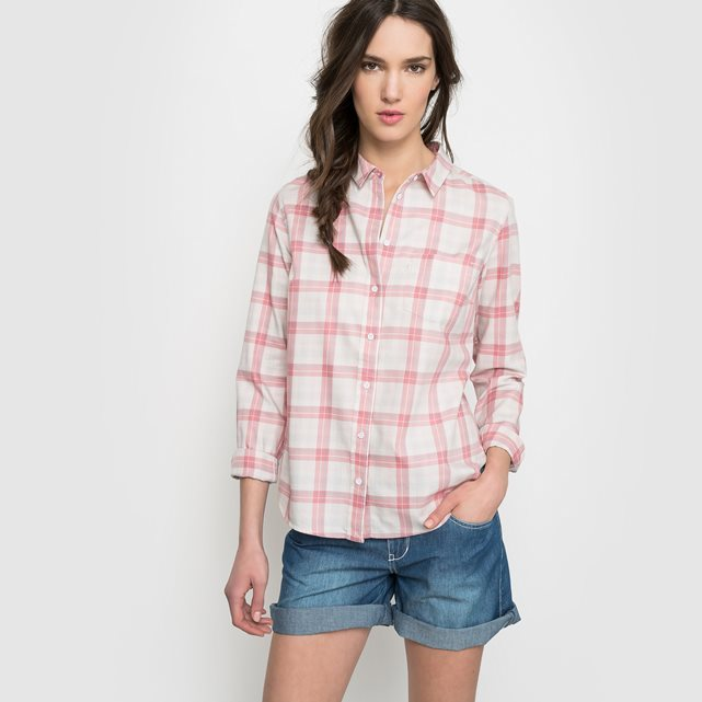 Gingham Cotton Shirt - neckline: shirt collar/peter pan/zip with opening; pattern: checked/gingham; style: shirt; predominant colour: white; secondary colour: pink; occasions: casual; length: standard; fibres: cotton - 100%; fit: body skimming; sleeve length: long sleeve; sleeve style: standard; texture group: cotton feel fabrics; pattern type: fabric; multicoloured: multicoloured; season: s/s 2016; wardrobe: highlight