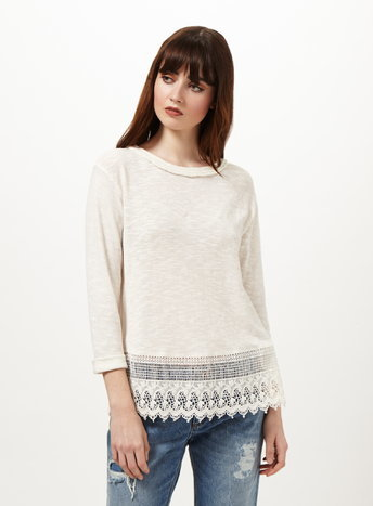 Womens Cream Crochet Split Back Top, Cream - pattern: plain; predominant colour: ivory/cream; occasions: casual; length: standard; style: top; fibres: cotton - mix; fit: body skimming; neckline: crew; sleeve length: 3/4 length; sleeve style: standard; pattern type: fabric; texture group: woven light midweight; embellishment: lace; season: s/s 2016; wardrobe: highlight