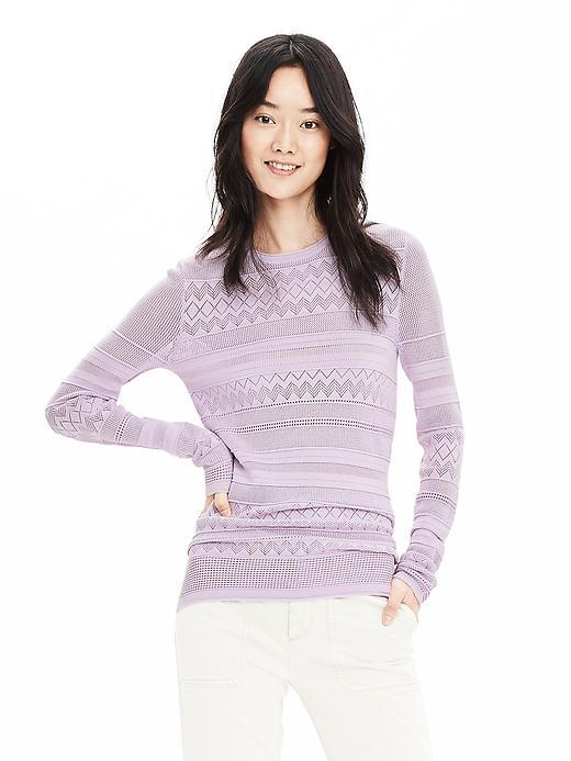 Pointelle Stripe Pullover Sweater Lilac - style: standard; predominant colour: lilac; occasions: casual, creative work; length: standard; fibres: cotton - mix; fit: slim fit; neckline: crew; sleeve length: long sleeve; sleeve style: standard; texture group: knits/crochet; pattern type: knitted - fine stitch; pattern size: standard; pattern: patterned/print; season: s/s 2016