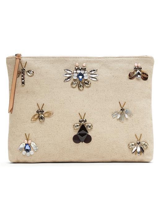 Jeweled Bug Pouch Natural - predominant colour: stone; secondary colour: gold; occasions: evening, creative work; type of pattern: standard; style: clutch; length: handle; size: standard; material: fabric; pattern: plain; finish: plain; embellishment: jewels/stone; season: s/s 2016; wardrobe: investment