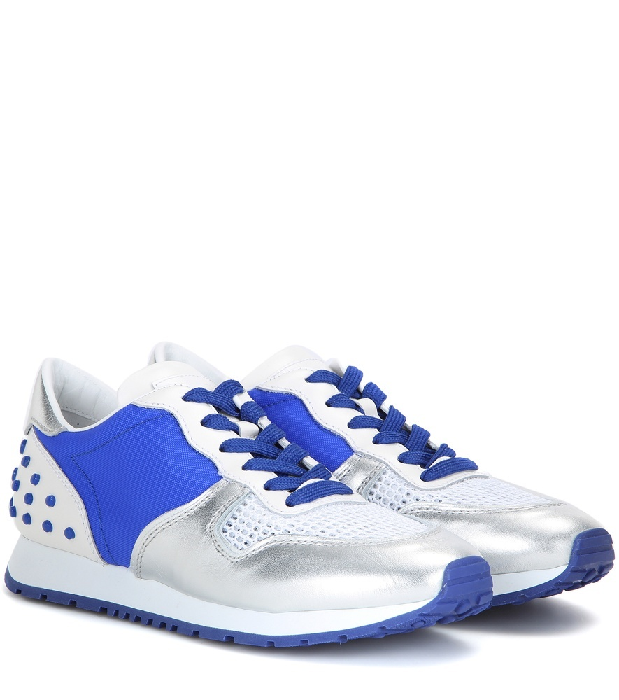 Sportivo Metallic Leather And Fabric Sneakers - predominant colour: royal blue; secondary colour: silver; occasions: casual, activity; material: leather; heel height: flat; toe: round toe; style: trainers; finish: metallic; pattern: plain; shoe detail: moulded soul; season: s/s 2016