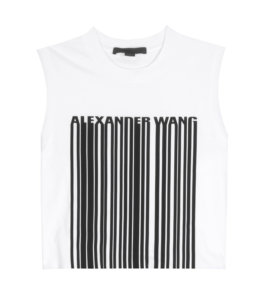 Printed Cropped Cotton Top - sleeve style: sleeveless; pattern: striped; predominant colour: white; secondary colour: black; occasions: casual; length: standard; style: top; fibres: cotton - 100%; fit: body skimming; neckline: crew; sleeve length: sleeveless; pattern type: fabric; texture group: jersey - stretchy/drapey; multicoloured: multicoloured; season: s/s 2016; wardrobe: highlight