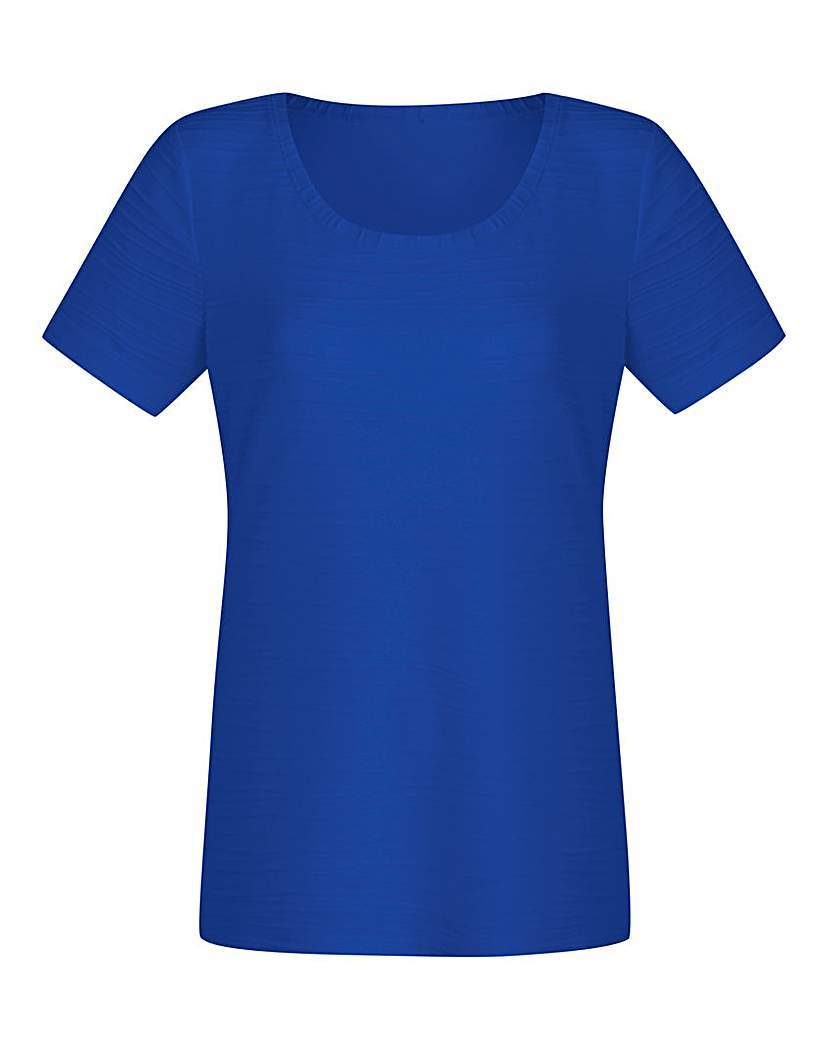 Ripple Jersey Top - neckline: round neck; pattern: plain; style: t-shirt; predominant colour: royal blue; occasions: casual; length: standard; fibres: cotton - 100%; fit: body skimming; sleeve length: short sleeve; sleeve style: standard; pattern type: fabric; texture group: jersey - stretchy/drapey; season: s/s 2016; wardrobe: highlight
