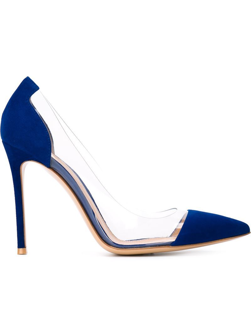 'plexi' Pumps, Women's, Size: 35.5, Blue - predominant colour: navy; occasions: evening, occasion; material: leather; heel: stiletto; toe: pointed toe; style: courts; finish: plain; pattern: colourblock; heel height: very high; secondary colour: clear; season: s/s 2016; wardrobe: event
