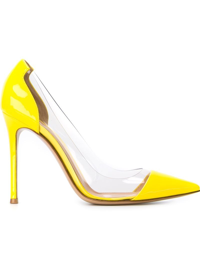 'plexi' Pumps, Women's, Yellow/Orange - predominant colour: yellow; occasions: evening, occasion; material: leather; heel: stiletto; toe: pointed toe; style: courts; finish: patent; pattern: plain; heel height: very high; season: s/s 2016; wardrobe: event