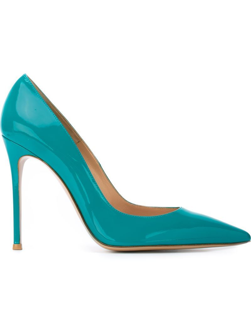 'gianvito' Pumps, Women's, Size: 39.5, Green - predominant colour: turquoise; occasions: evening; material: leather; heel: stiletto; toe: pointed toe; style: courts; finish: patent; pattern: plain; heel height: very high; season: s/s 2016; wardrobe: event
