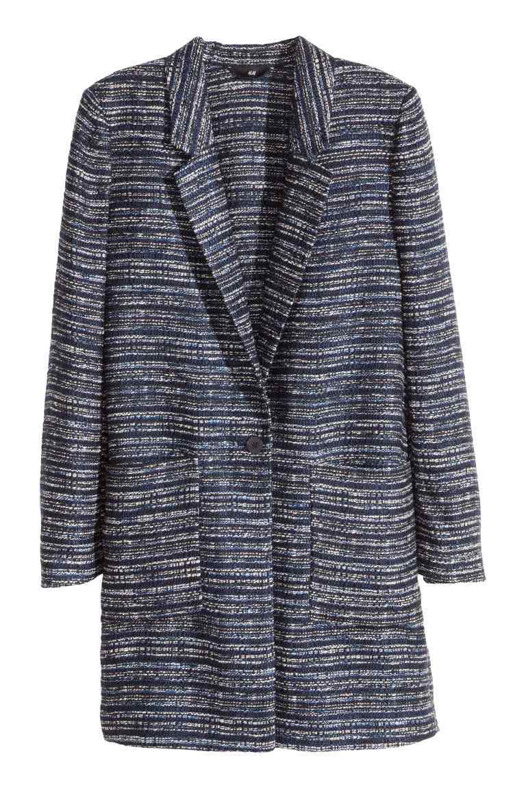 Long Bouclé Jacket - style: single breasted blazer; pattern: striped; collar: standard lapel/rever collar; secondary colour: white; predominant colour: navy; fit: tailored/fitted; fibres: acrylic - mix; length: mid thigh; sleeve length: long sleeve; sleeve style: standard; collar break: low/open; pattern type: fabric; pattern size: standard; texture group: woven light midweight; occasions: creative work; season: s/s 2016; wardrobe: investment