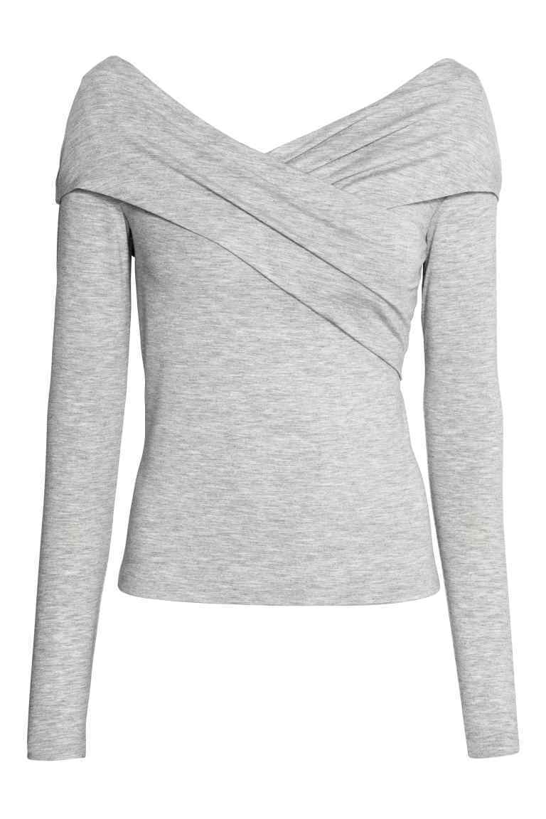 Off The Shoulder Top - neckline: off the shoulder; pattern: plain; predominant colour: light grey; occasions: casual; length: standard; style: top; fibres: viscose/rayon - stretch; fit: tight; sleeve length: long sleeve; sleeve style: standard; texture group: jersey - clingy; pattern type: fabric; season: s/s 2016
