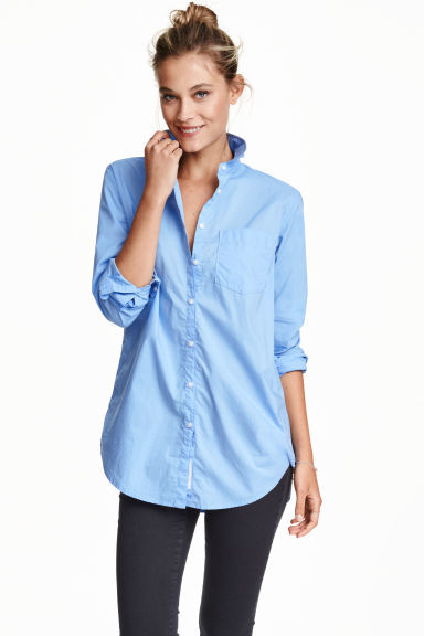 Long Cotton Shirt - neckline: shirt collar/peter pan/zip with opening; pattern: plain; style: shirt; predominant colour: pale blue; occasions: casual, creative work; length: standard; fibres: cotton - 100%; fit: straight cut; sleeve length: 3/4 length; sleeve style: standard; texture group: cotton feel fabrics; pattern type: fabric; season: s/s 2016