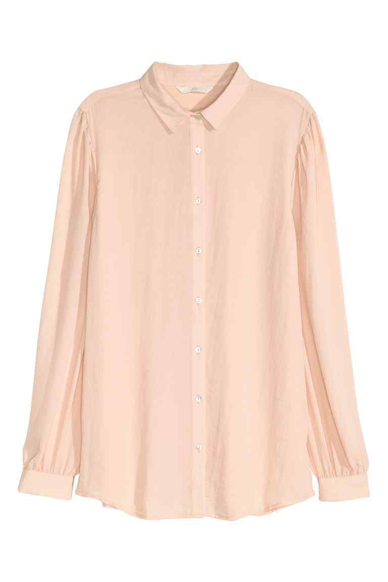 Crêpe Blouse - neckline: shirt collar/peter pan/zip with opening; pattern: plain; style: blouse; predominant colour: blush; occasions: casual; length: standard; fibres: polyester/polyamide - 100%; fit: body skimming; sleeve length: long sleeve; sleeve style: standard; pattern type: fabric; texture group: other - light to midweight; season: s/s 2016; wardrobe: basic