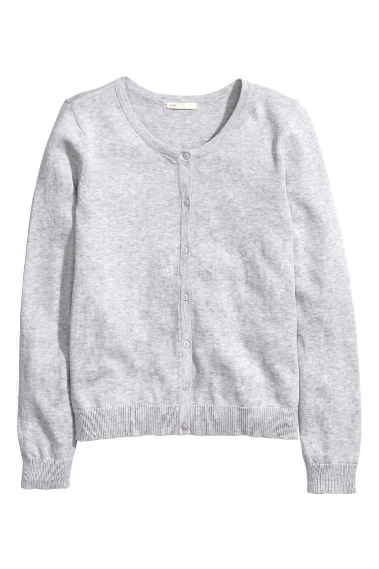 Cotton Cardigan - neckline: round neck; pattern: plain; predominant colour: light grey; occasions: casual, creative work; length: standard; style: standard; fibres: cotton - 100%; fit: standard fit; sleeve length: long sleeve; sleeve style: standard; texture group: knits/crochet; pattern type: knitted - fine stitch; season: s/s 2016; wardrobe: basic
