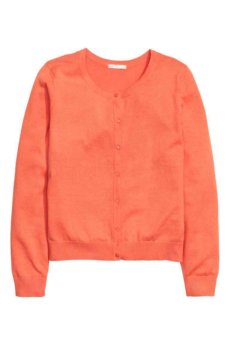Cotton Cardigan - neckline: round neck; pattern: plain; predominant colour: bright orange; occasions: casual, creative work; length: standard; style: standard; fibres: cotton - 100%; fit: standard fit; sleeve length: long sleeve; sleeve style: standard; texture group: knits/crochet; pattern type: knitted - fine stitch; season: s/s 2016; wardrobe: highlight