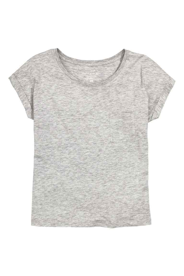 Jersey Top With A Chest Pocket - neckline: round neck; pattern: plain; style: t-shirt; predominant colour: light grey; occasions: casual; length: standard; fibres: cotton - mix; fit: body skimming; sleeve length: short sleeve; sleeve style: standard; pattern type: fabric; texture group: jersey - stretchy/drapey; season: s/s 2016
