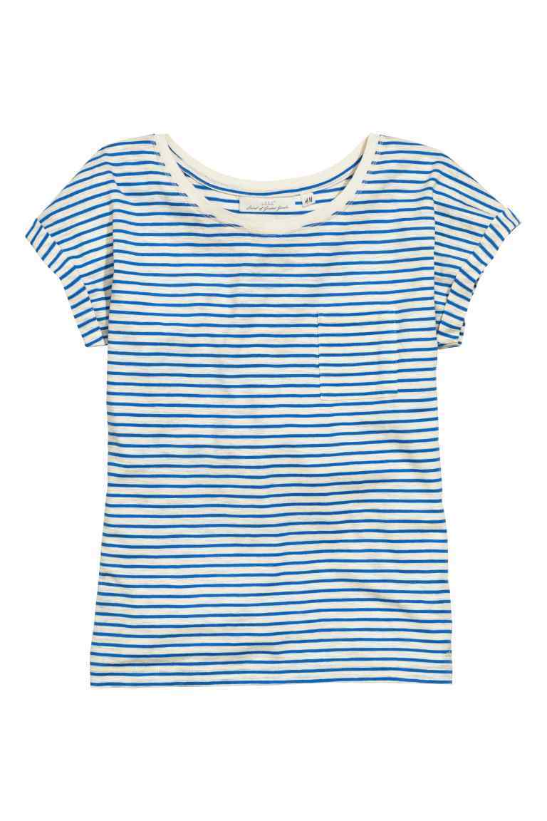 Jersey Top With A Chest Pocket - neckline: round neck; sleeve style: capped; pattern: horizontal stripes; style: t-shirt; secondary colour: white; predominant colour: diva blue; occasions: casual; length: standard; fibres: cotton - stretch; fit: body skimming; sleeve length: short sleeve; texture group: jersey - clingy; pattern type: fabric; season: s/s 2016; wardrobe: highlight