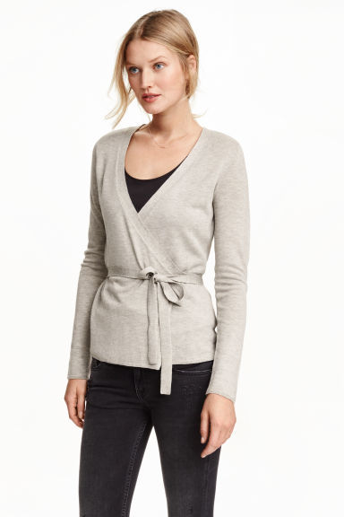 Fine Knit Wraparound Cardigan - neckline: low v-neck; pattern: plain; style: wrap; predominant colour: light grey; occasions: casual; length: standard; fibres: polyester/polyamide - mix; fit: slim fit; waist detail: belted waist/tie at waist/drawstring; sleeve length: long sleeve; sleeve style: standard; texture group: knits/crochet; pattern type: knitted - fine stitch; season: s/s 2016
