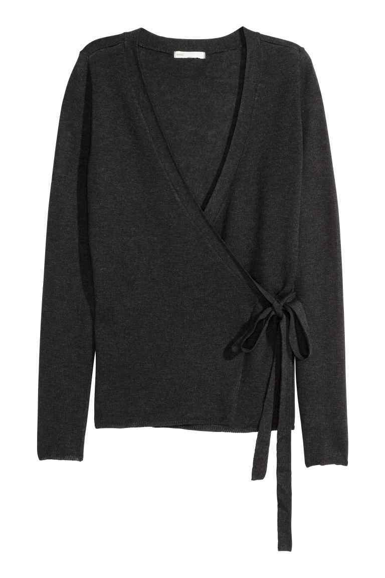 Fine Knit Wraparound Cardigan - neckline: low v-neck; pattern: plain; style: wrap; predominant colour: black; occasions: casual; length: standard; fibres: polyester/polyamide - mix; fit: slim fit; waist detail: belted waist/tie at waist/drawstring; sleeve length: long sleeve; sleeve style: standard; texture group: knits/crochet; pattern type: fabric; season: s/s 2016; wardrobe: basic