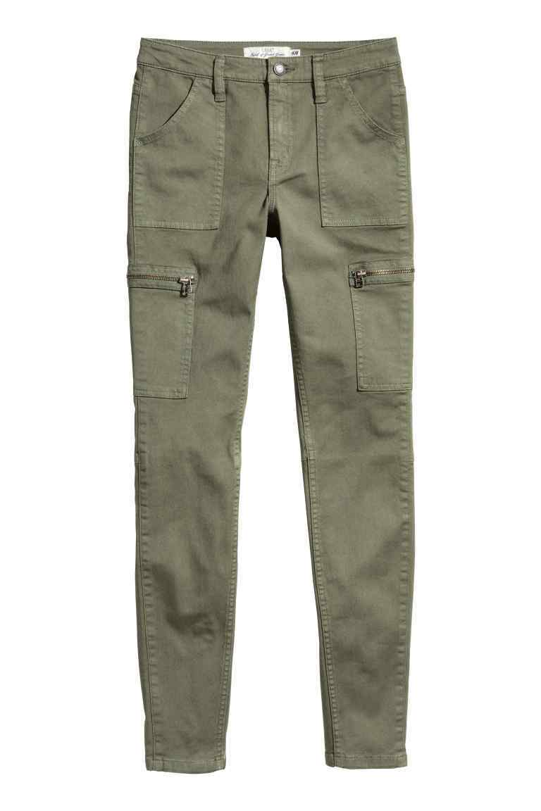 Cargo Pants - length: standard; pattern: plain; waist: mid/regular rise; style: cargo; predominant colour: khaki; occasions: casual, holiday; fibres: cotton - 100%; waist detail: narrow waistband; texture group: cotton feel fabrics; fit: skinny/tight leg; pattern type: fabric; season: s/s 2016