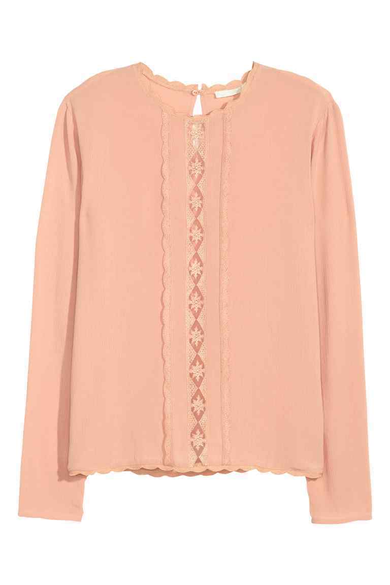Crinkled Blouse - pattern: plain; style: blouse; predominant colour: pink; occasions: casual, creative work; length: standard; fibres: polyester/polyamide - 100%; fit: body skimming; neckline: crew; sleeve length: long sleeve; sleeve style: standard; pattern type: fabric; texture group: other - light to midweight; embellishment: lace; season: s/s 2016; wardrobe: highlight; embellishment location: bust