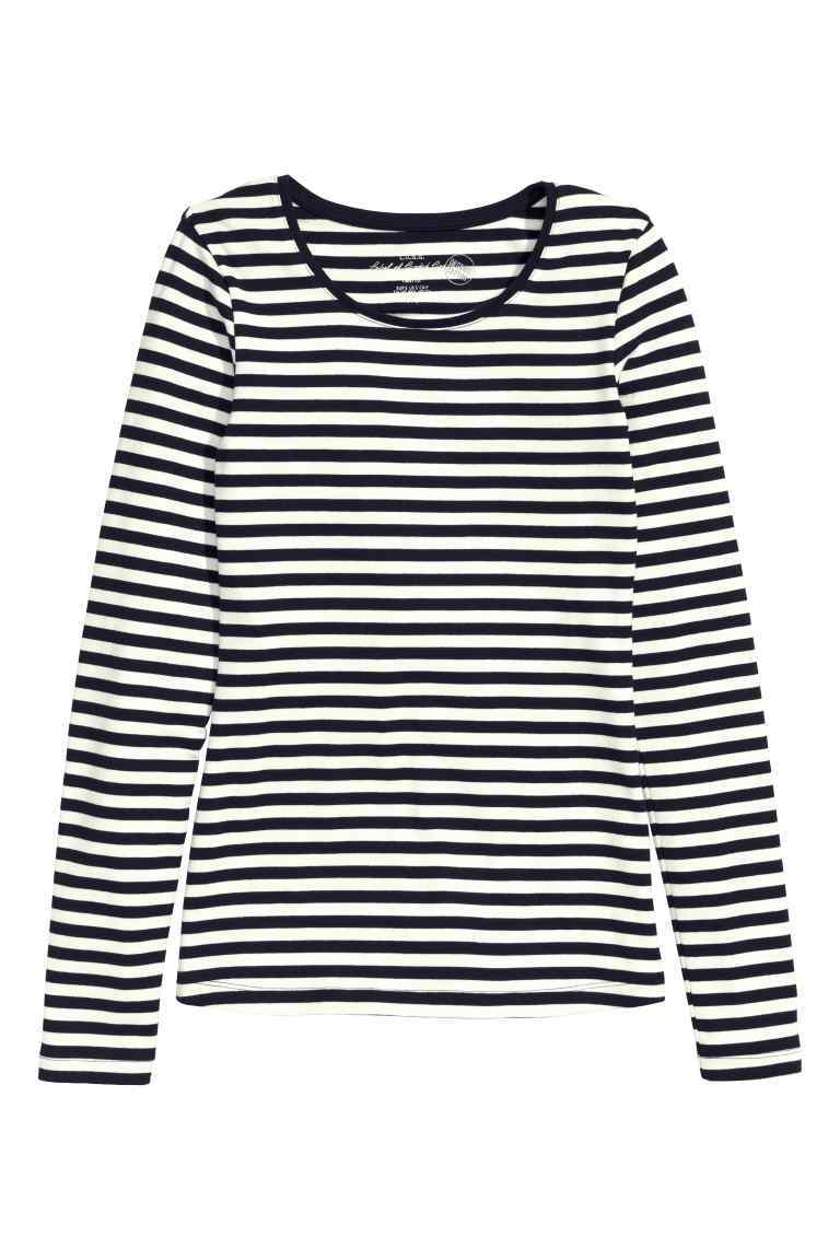 Long Sleeved Jersey Top - pattern: horizontal stripes; secondary colour: white; predominant colour: black; occasions: casual; length: standard; style: top; fibres: cotton - stretch; fit: body skimming; neckline: crew; sleeve length: long sleeve; sleeve style: standard; pattern type: fabric; texture group: jersey - stretchy/drapey; multicoloured: multicoloured; season: s/s 2016; wardrobe: basic