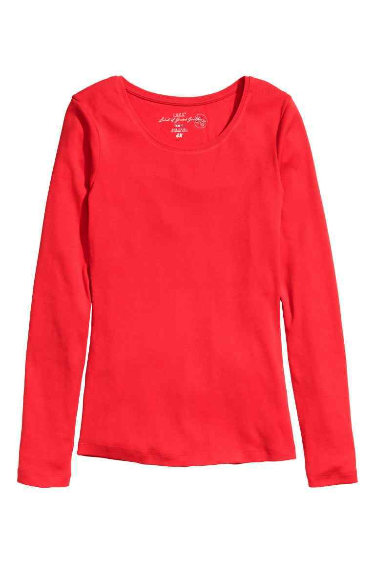Long Sleeved Jersey Top - pattern: plain; predominant colour: true red; occasions: casual; length: standard; style: top; fibres: cotton - stretch; fit: body skimming; neckline: crew; sleeve length: long sleeve; sleeve style: standard; pattern type: fabric; texture group: jersey - stretchy/drapey; season: s/s 2016; wardrobe: highlight
